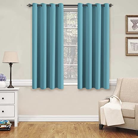 H.Versailtex Blackout Aqua Curtains For Bedroom /Living Room, 52u0026quot; Wide  X