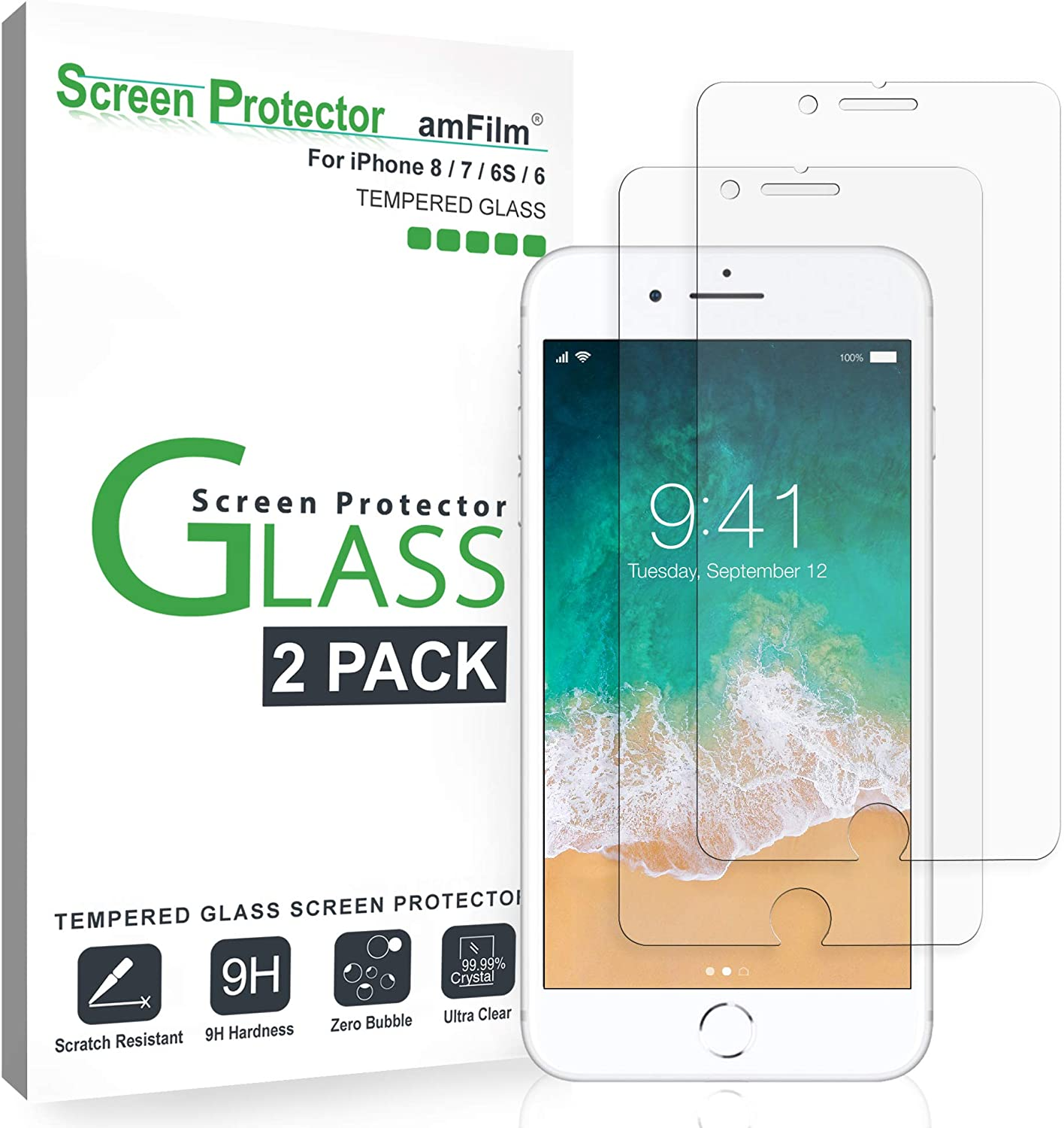 "amFilm Glass Screen Protector for iPhone 8, 7, 6S, 6 (4.7"")(2 Pack) Tempered Glass Screen Protector"