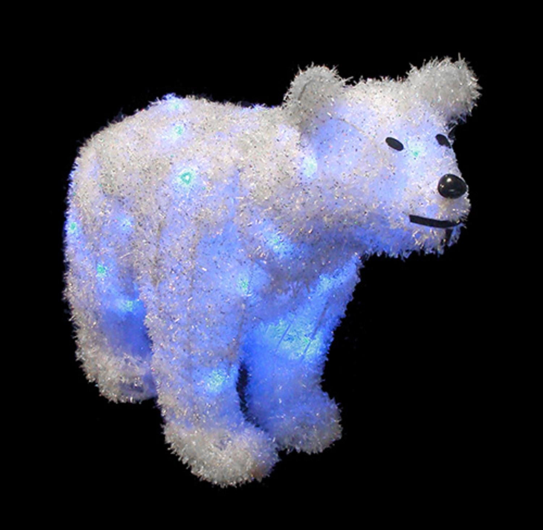 Amazon Com Alger Led Lighted Tinsel Polar Bear Christmas Decoration With Blue Lights 32 Home Kitchen