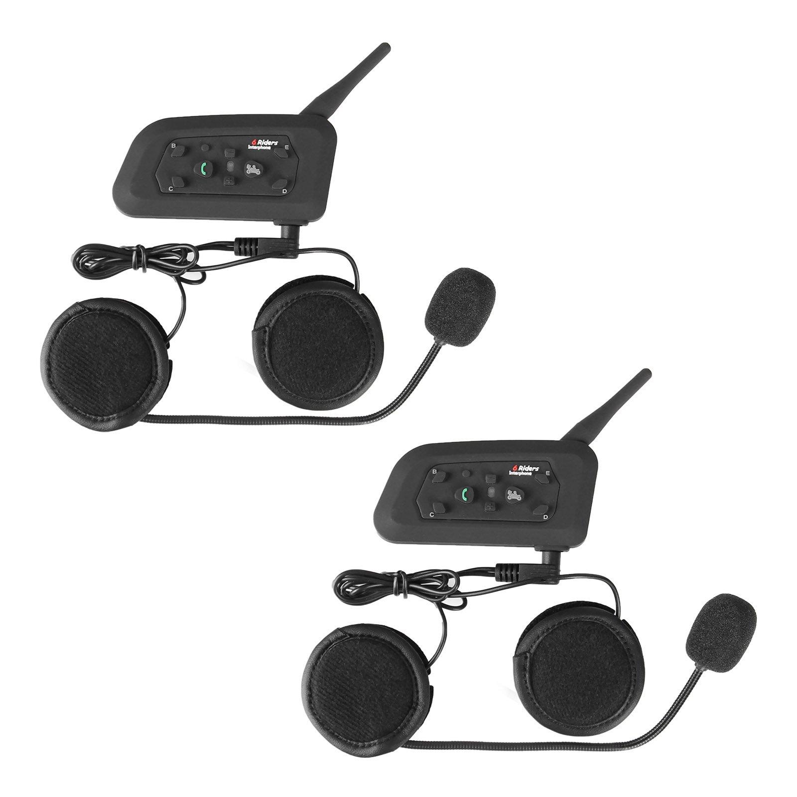 heneng Motorcycle Helmet Wireless Headset Intercom Full-face Sport Speaker Low Profile Wireless Headphone 6 Riders Communicator 500m Talk for Riding, Trip, Cruise, Offroad, Snow Vnetphone(2 Pack)