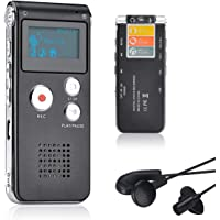 Lychee 8GB Voice Recorder USB Rechargeable Dictaphone LCD Recorder with Multifunctional Digital Audio and MP3 Player (Black)