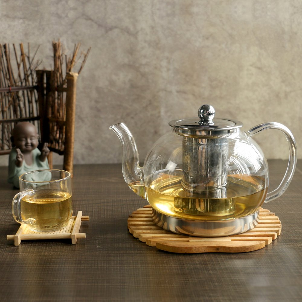Heat Resistant Borosilicate Clear Glass Tea Pot With Tea Leaves Infuser 28oz