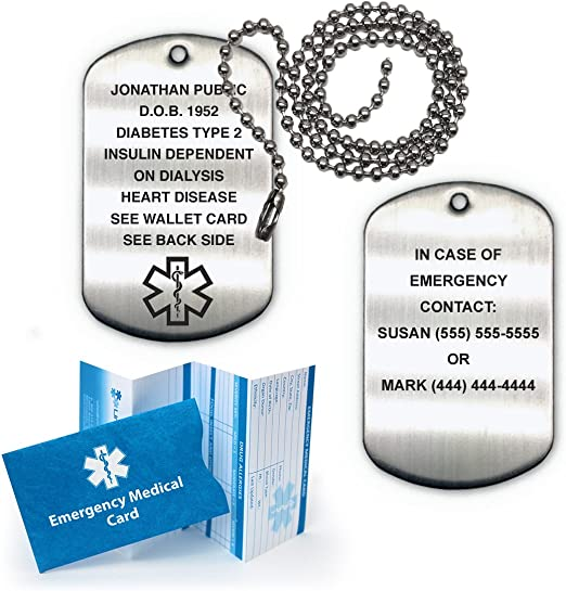 with Secure Lobster Lock Clasp 30 Solid Stainless Steel Dog Tag Greek Key Edge RN Registered Nurse Caduceus Symbol Medical Emergency Alert Pendant Necklace Charm Chain