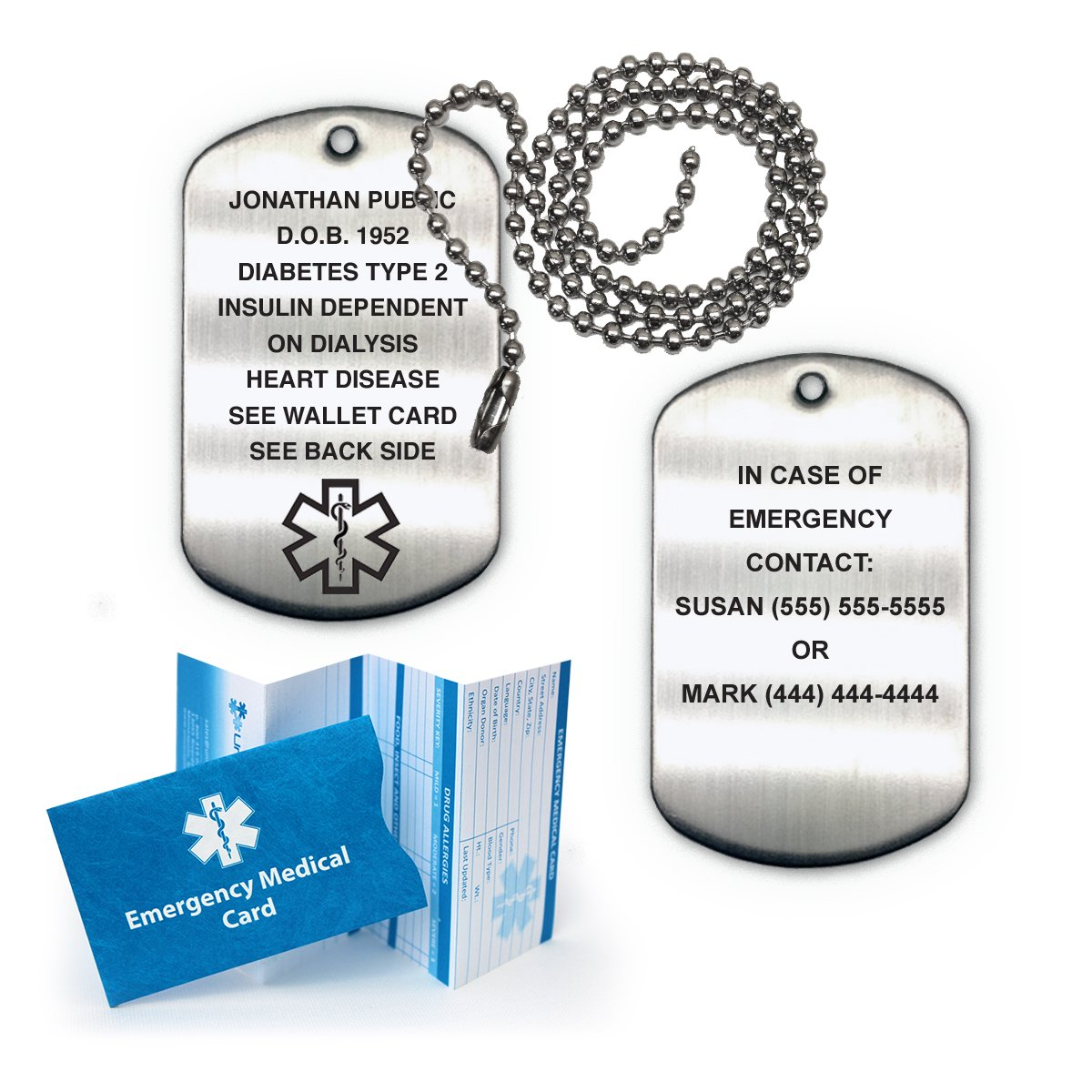 Medical Alert ID Brushed Stainless Steel Dog Tag with 27'' Chain (incl. 18 Lines of Custom Engraving) by Universal Medical Data