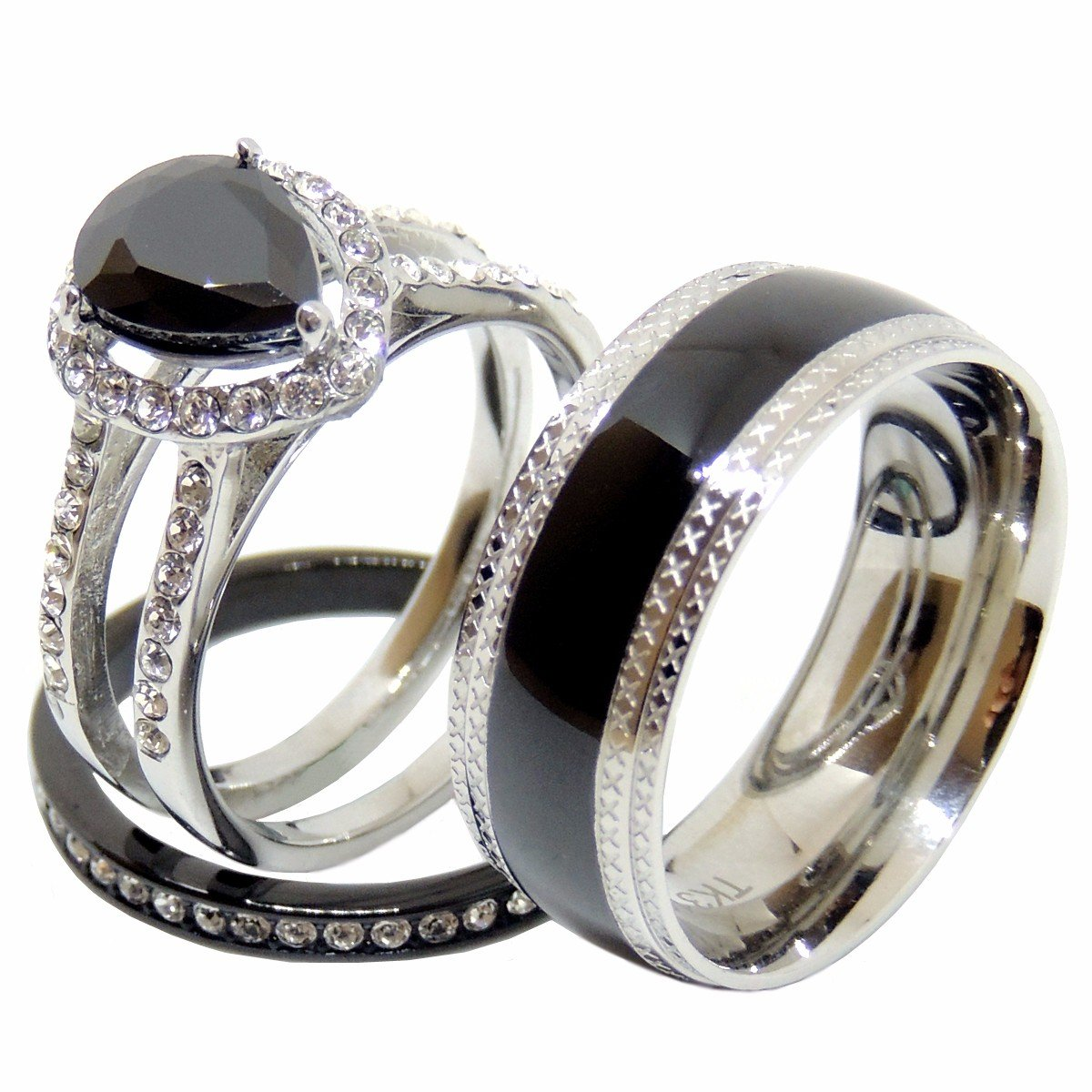 Couples Rings Set Womens Black Stainless Steel Black Pear CZ Wedding Ring Set Mens Promise Band - Size W6M10