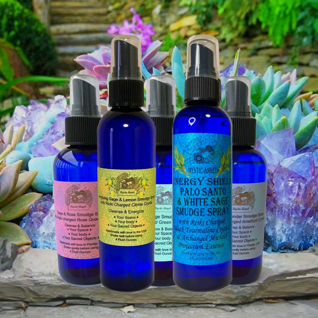 Energy Shield Palo Santo & White Sage Smudge Spray (4 oz.) with with Reiki Charged Black Tourmaline Crystal & Archangel Michael Protecion Essence, Shields Against EMFs, Psychic Attacks, Night Terrors by Mystic Angel (Image #6)