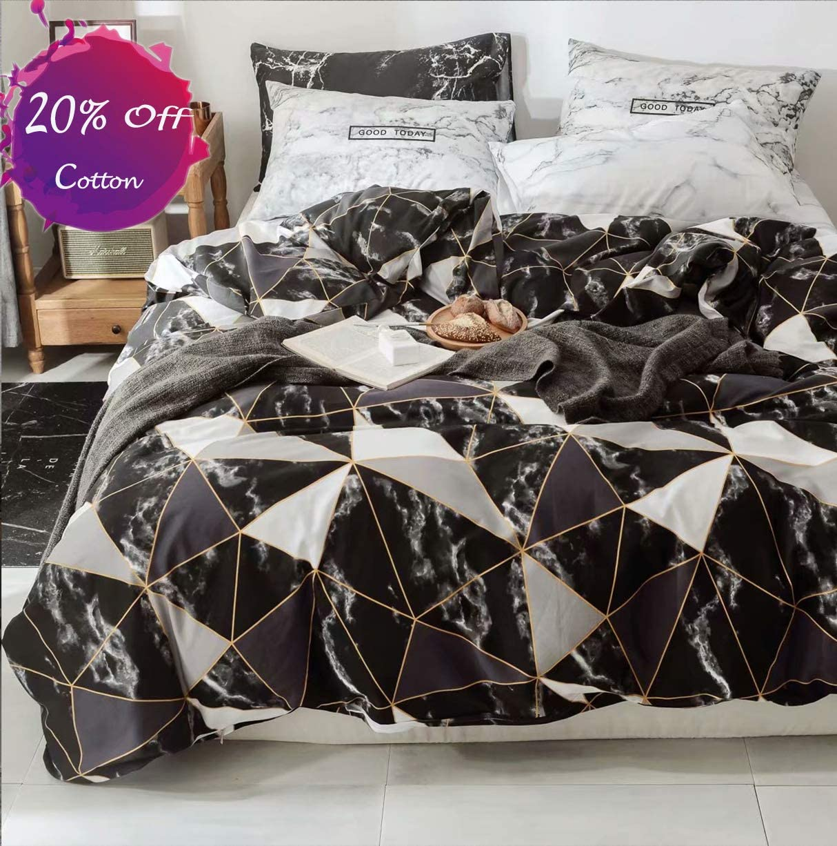 karever Black Marble Duvet Cover Set Queen Kids Gold Triangle Geometric Cotton Bedding Set Full Teen Boy Girl Gothic Chic Comforter Cover Set