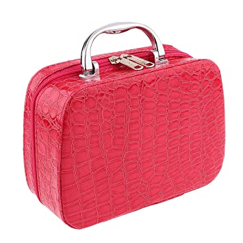 83f6e7c2c68c Segolike Professional Travel Cosmetic Bag Vanity Makeup Train Case Toiletry  Organizer Storage Pouch - rose red