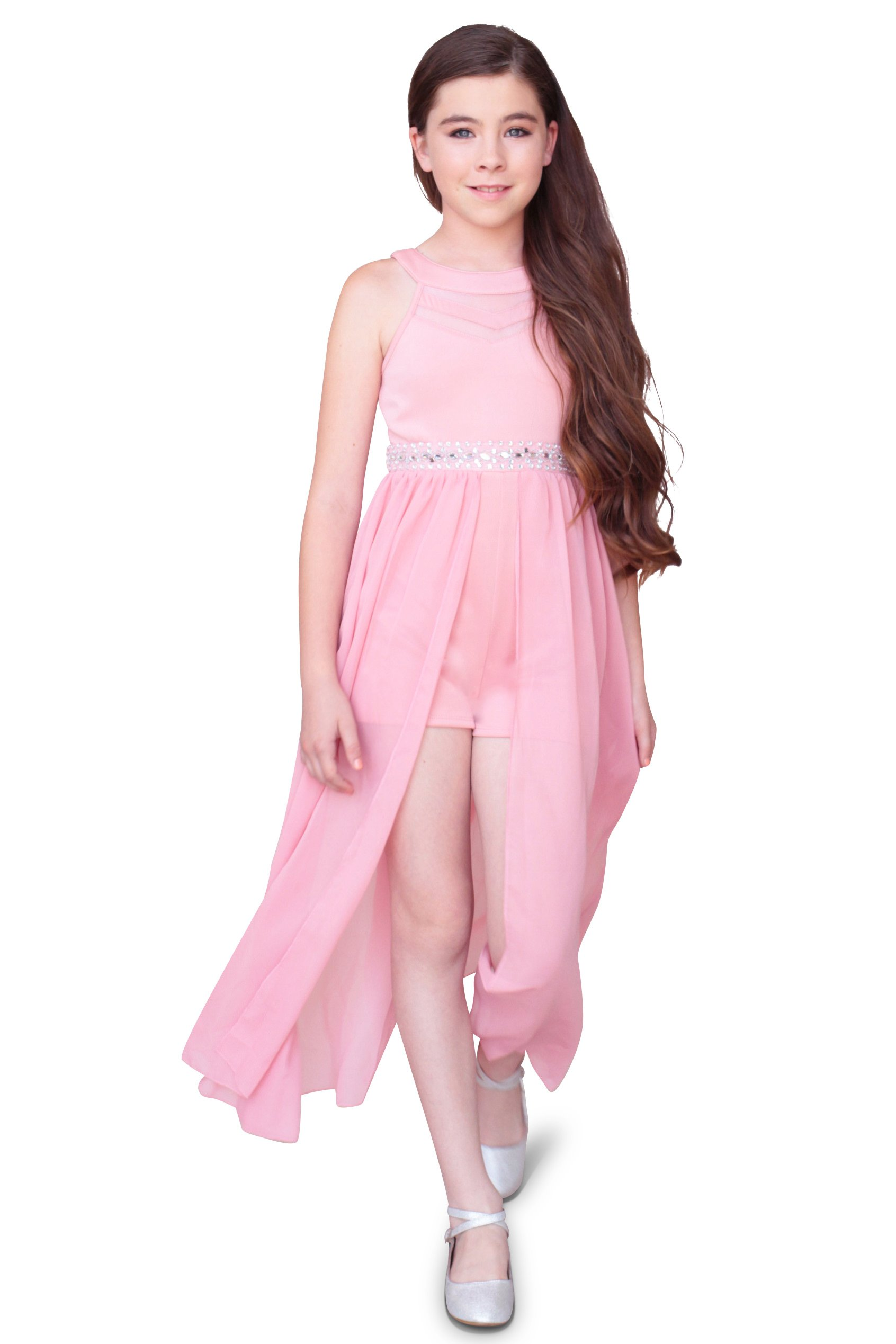 Emerald Sundae Girls Illusion Halter Maxi Romper Dress, Pink, Size 14