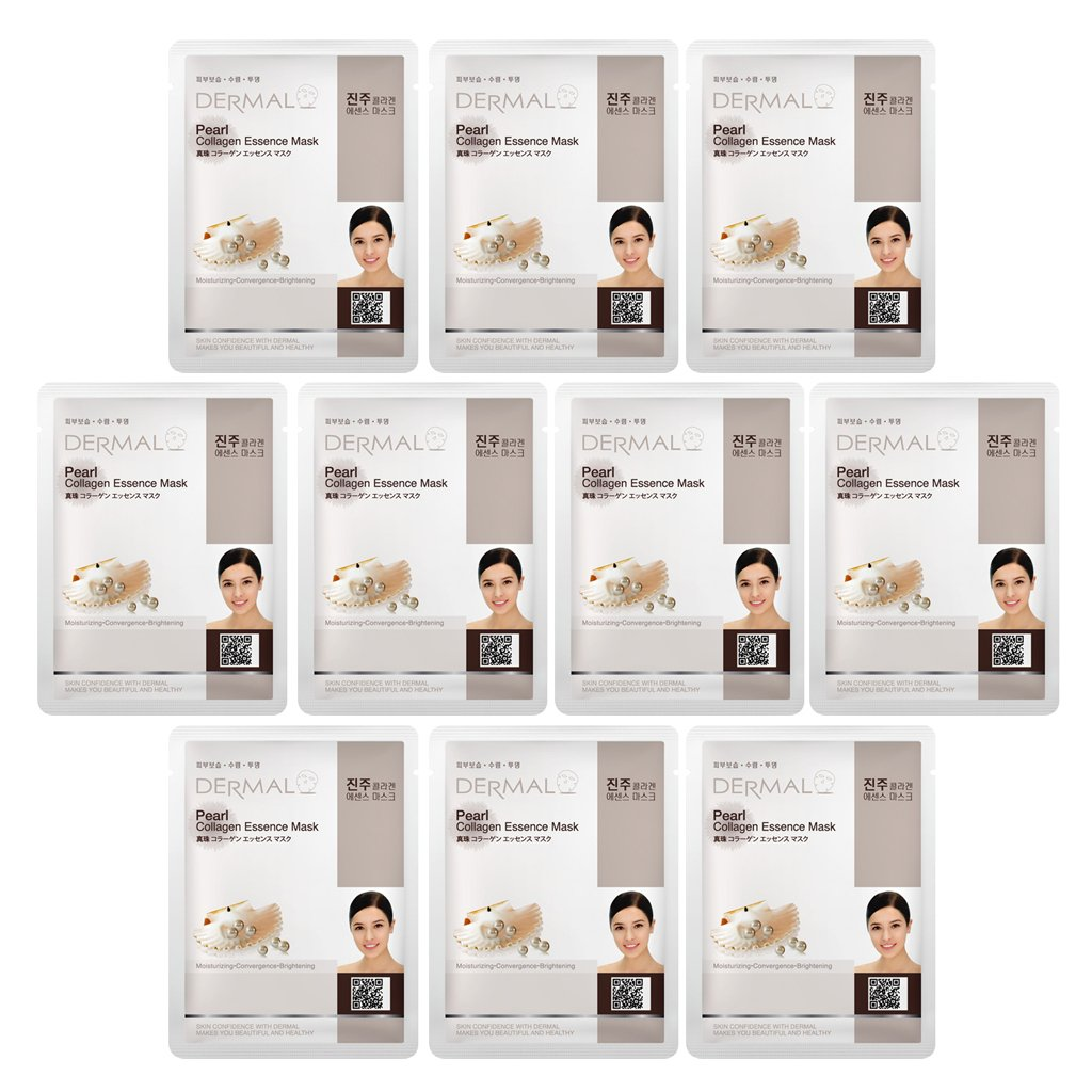 Dermal Korea Collagen Essence Full Face Facial Mask Sheet - Pearl (10 Pack) Beautyspace 001 Pearl