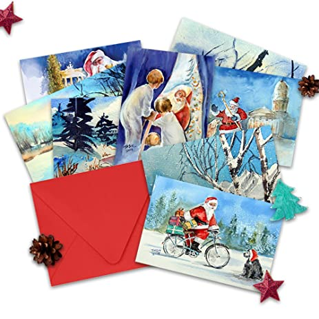 assorted watercolor christmas cards boxed holiday cards set of 8 - Boxed Holiday Cards