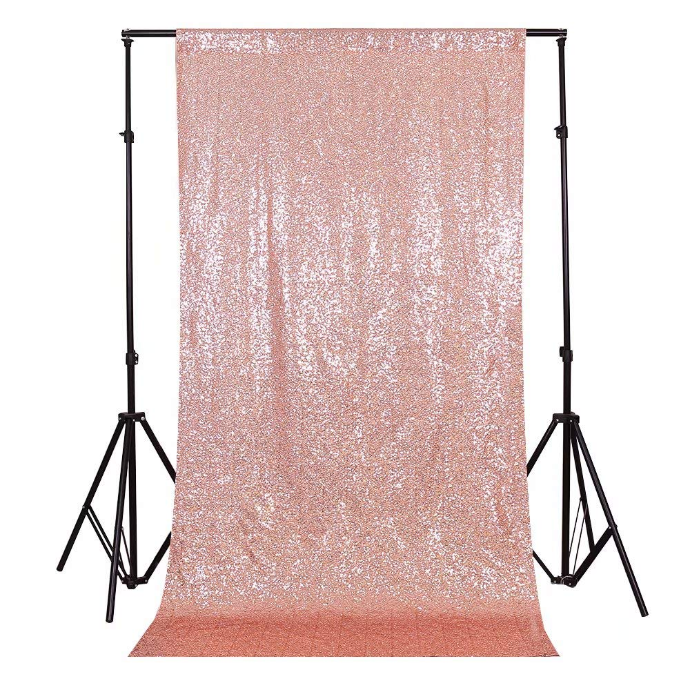 GFCC Sparkly Rose Gold Sequin Backdrop Curtain 20x10ft for Glitter Wedding Party Photo Booth Backdrop by GFCC