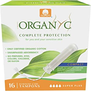 Organyc 100% Certified Organic Cotton Tampons – Plant-Based Eco-Applicator, Super Plus Flow, 16 Count