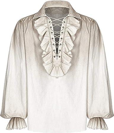 Punk Rave Hombre Camiseta Pirata Top Vintage Blanco Gótico steampunker Poeta Medieval Cordones: Amazon.es: Ropa y accesorios