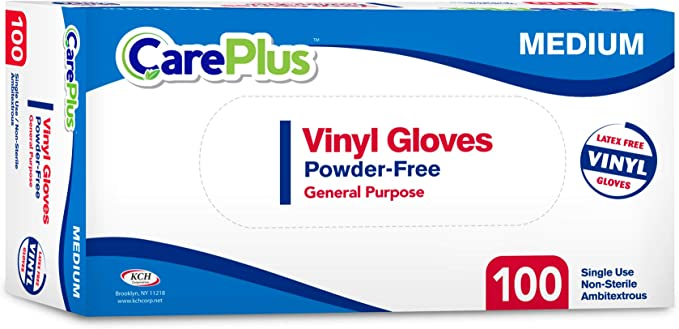 Disposable Vinyl Gloves Medium Size| Heavy Duty | Non Sterile | Powder Free | Latex Free Rubber | 100 Count Box