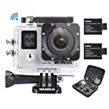 WiMiUS Q4 Action Camera, Fotocamera Subacquea 4k WiFi Full HD 16MP Action Sport Camera Impermeabile 40M con 2 Batterie e Kit di Accessori (Argento)