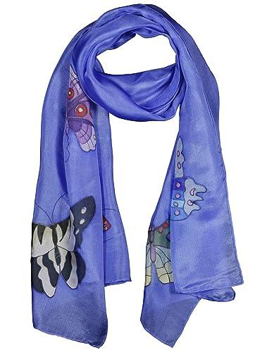 Donna Sciarpa 100% Seta Dipinta a Mano – Farfalle Sfondo Colori Vari