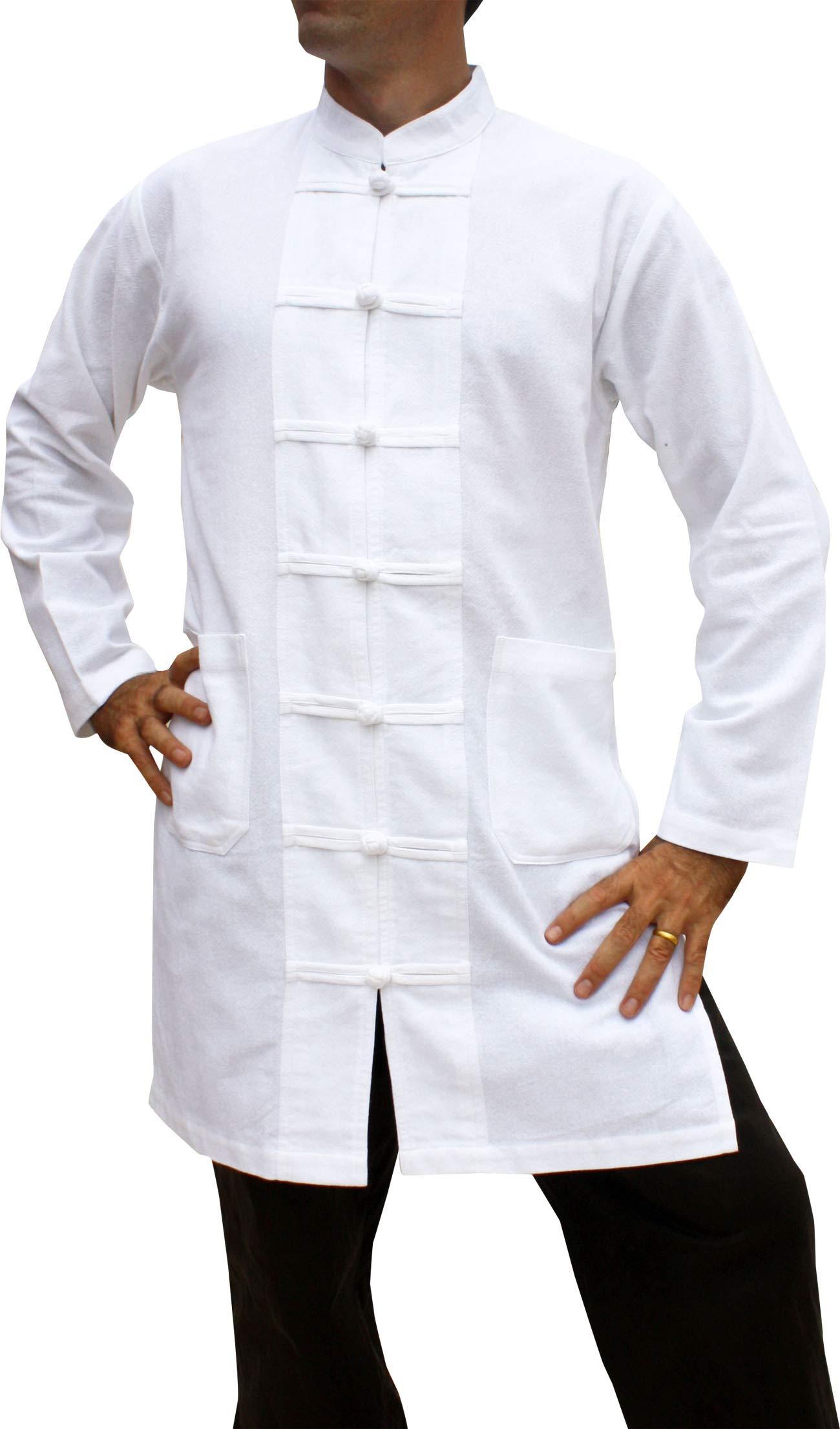 Svenine Long Chinese Jacket Handmade Kung Fu Tai Chi Shirt with Waist Pockets, XXX-Large, Muang Cotton - White