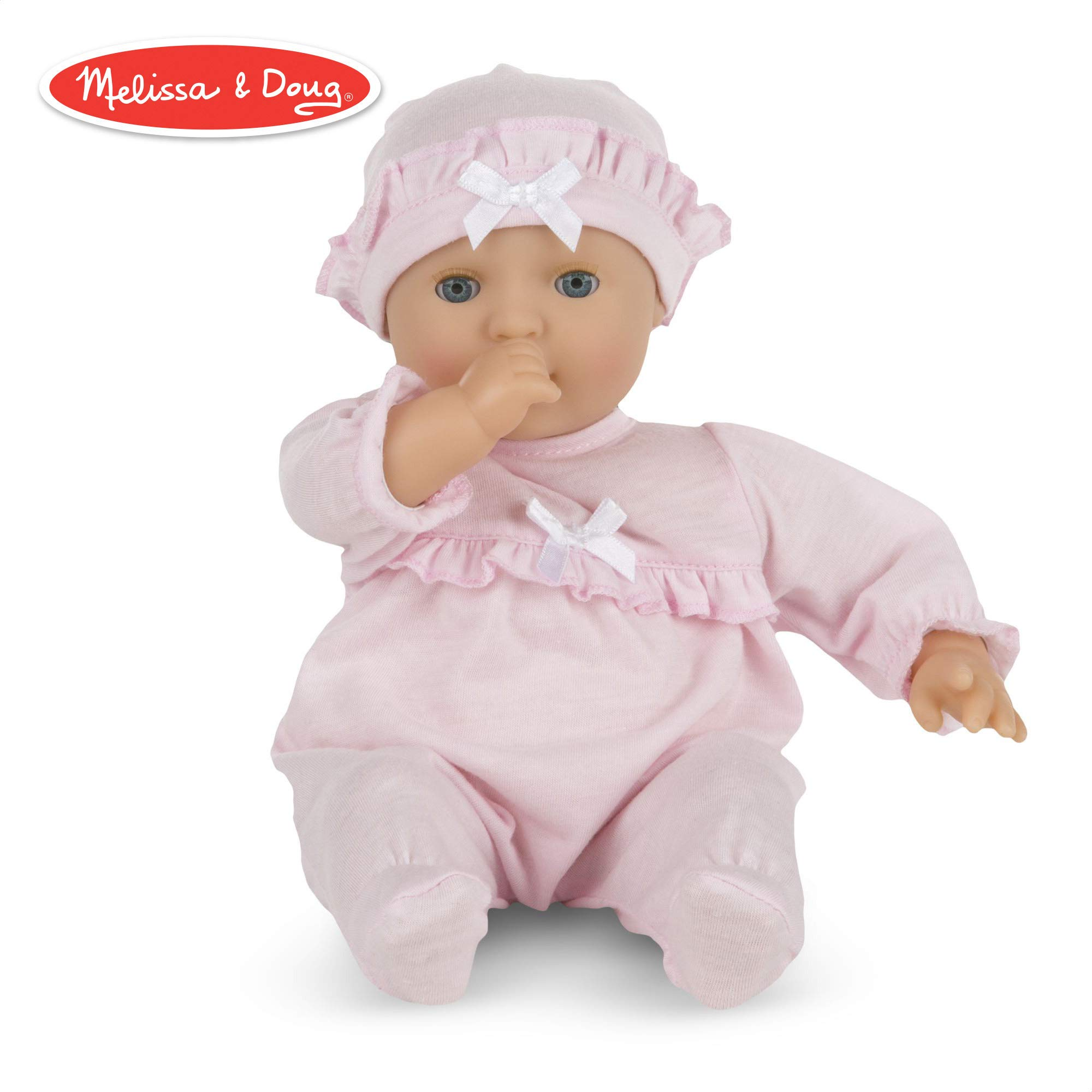 Melissa & Doug Mine to Love Jenna 12-Inch Soft Body Baby Doll, Romper and Hat Included, Wipe-Clean Arms & Legs, 12.5'' H x 7.2'' W x 4.7'' L by Melissa & Doug