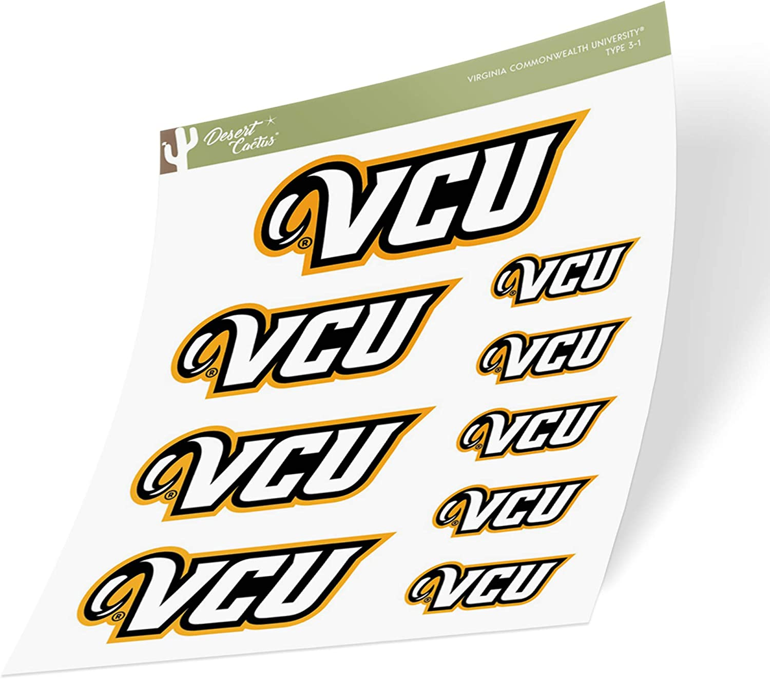 Virginia Commonwealth University VCU Rams NCAA Sticker Vinyl Decal Laptop Water Bottle Car Scrapbook (Sheet Type 3-1)