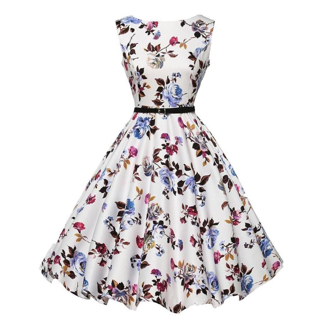 Women Dress Daoroka Sexy Ladies Vintage Floral Print Sleeveless Bodycon Hepburn Pleated A Line Swing Skirt With Belt Retro Evening Party Prom High Waist New Fashion Cute Sundress (2XL, White)