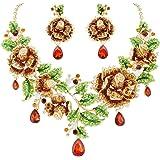 EVER FAITH Austrian Crystal Elegant Rose Flower Leaf Teardrop Neckalce Earrings Set