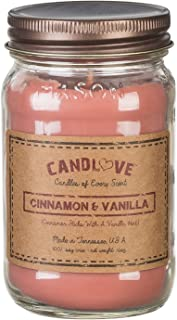 "product image for Candlove ""Cinnamon & Vanilla"" Scented 16oz Mason Jar Candle 100% Soy Made in The USA"