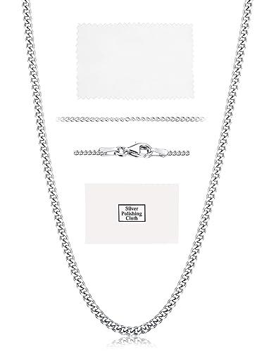 11d3f430a190 sailimue Plata de Ley 925 1.5mm Collar para Hombre Mujer Collar Cadena de  Bordillo Longitud 41-76cm con Caja de Regalo  Amazon.es  Joyería
