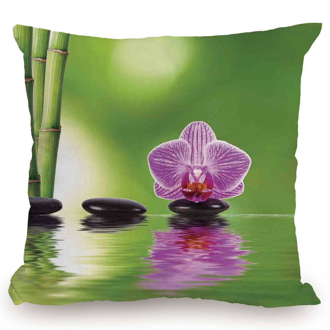 KissCase Throw Pillow Cushion Cover,Spa Decor,Spa Floral Decorating Summertime Holidays Exotic Positiveness Lilac Bouquet,Decorative Square Accent Pillow Case