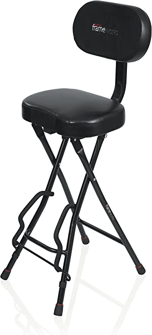 Guitar Stool With Fold Out Guitar Stand for Acoustic And Electric Guitars Kuyal Foldable Guitar Seat Black