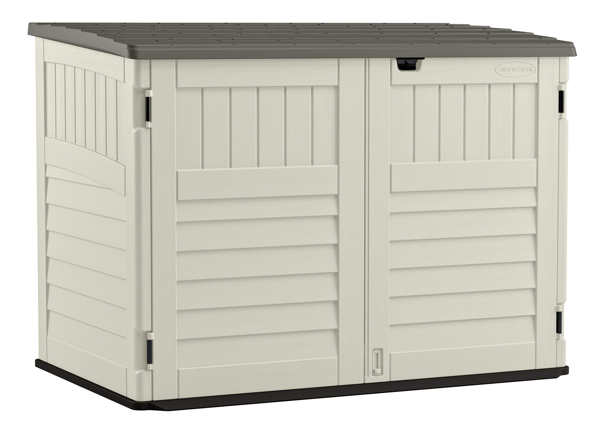 Suncast Stow - Away Horizontal Storage Shed - Outdoor Storage Shed for Backyards and Patios - 70 Cubic Feet Capacity for Garbage Cans, Tools and Garden Accessories - Vanilla and Stoney by Suncast