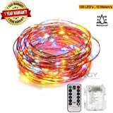 Xergy 10M 100Led Battery Box and Remote and 8 Mode Functions Copper Wire Led Fairy String Lights Festive (Multi Color) Christmas NYE Decoration Lights Festival Rice Light