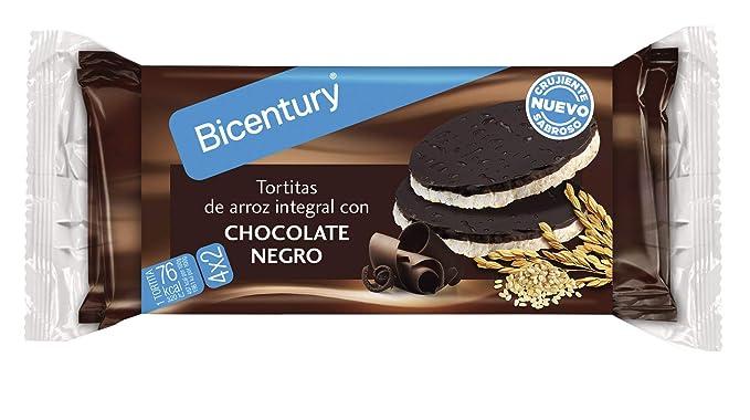 Bicentury - Tortitas Nackis - Arroz Integral Con Chocolate Negro - 4 x 32.6 g