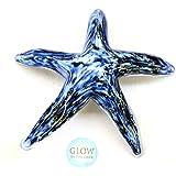 Hand Blown Glass Walking Starfish, Blue and White Glows in the Dark, 4.75 Inch Diameter