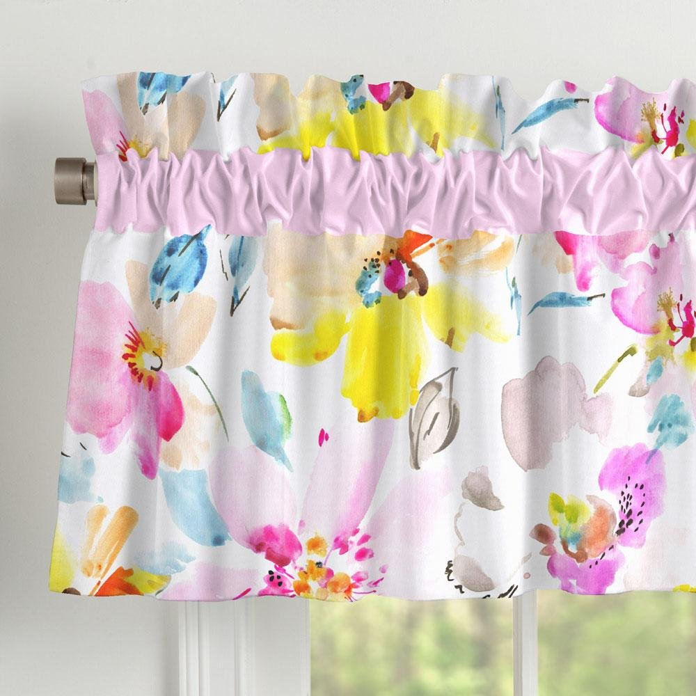 Carousel Designs Watercolor Floral Window Valance Rod Pocket by Carousel Designs
