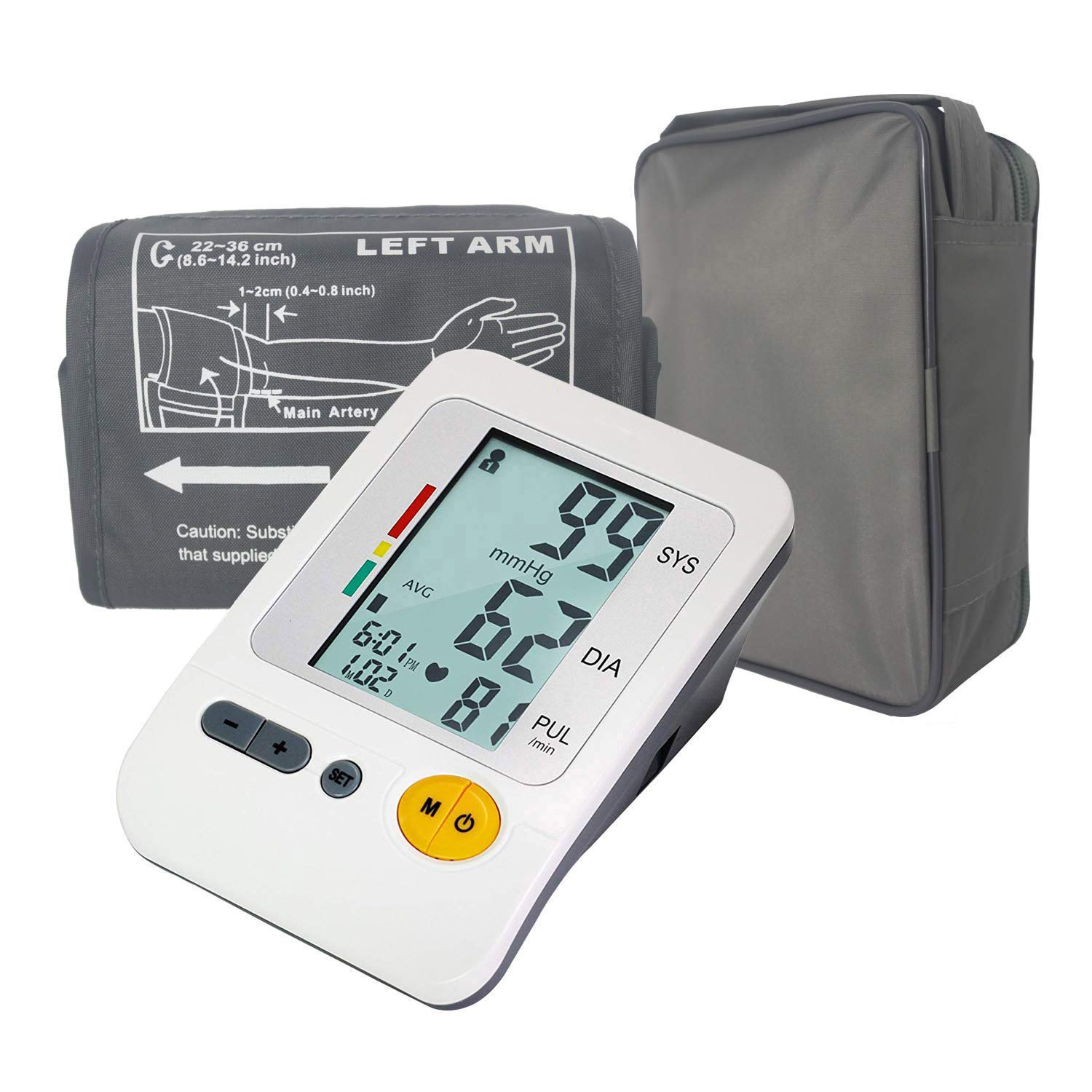 Automatic Blood Pressure Monitor Upper Arm, 4 User Digital Blood Pressure Monitor Large Cuff with Pulse Rate for Home Use, Portable BP Machine Large Backlight Display, FDA CE Approved White