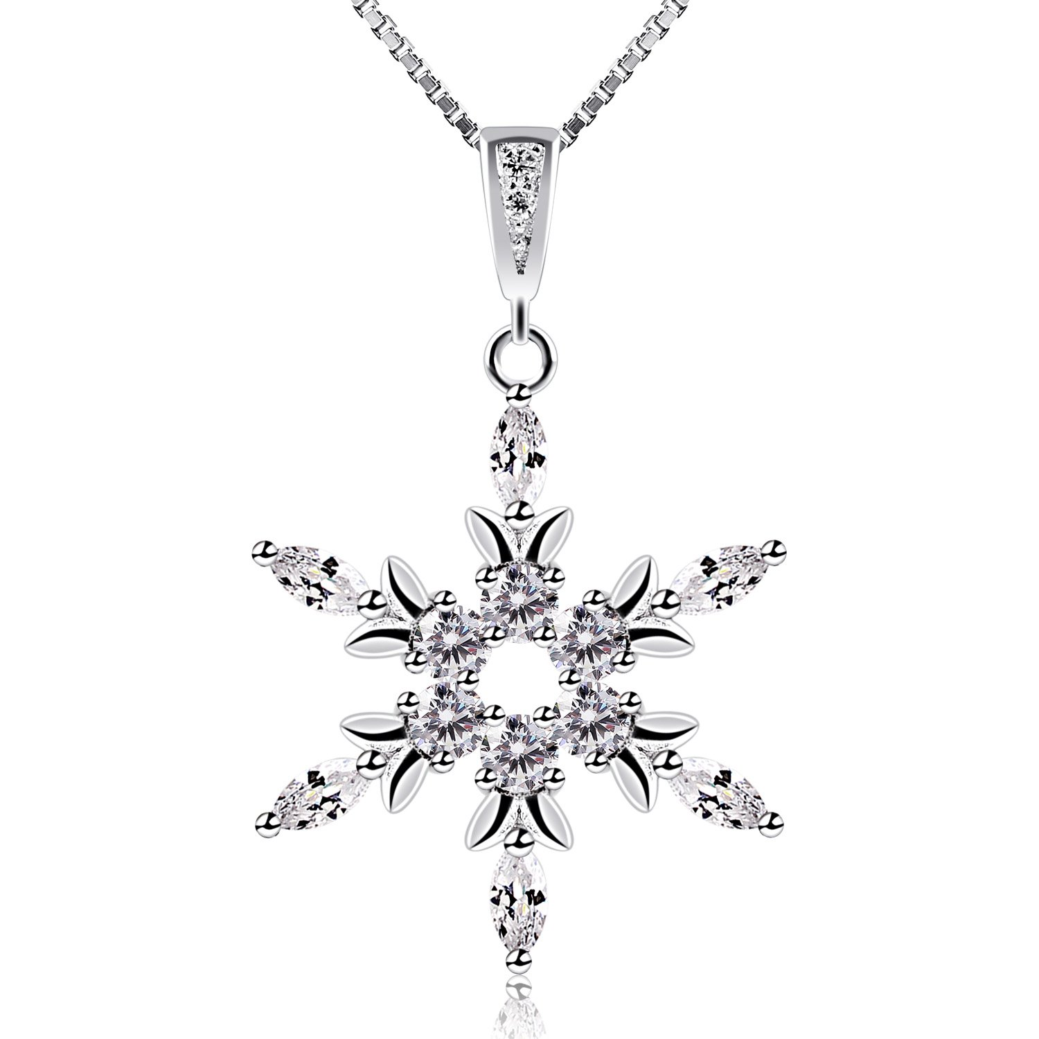 silver cz jf pendant necklace snowflake opal blue bling jewelry synthetic