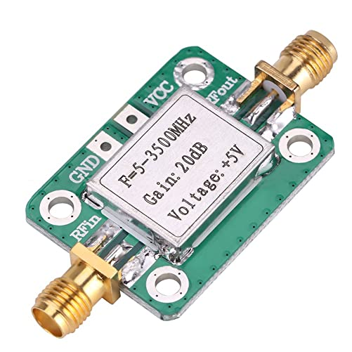 5-3500MHz Broadband 20 dB High Gain LNA Low Noise RF Amplifier Module Ham Radio with Shielding Shell for Shortwave FM TV Audio