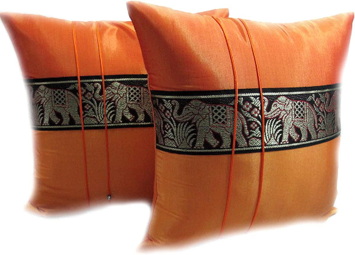 HelloThailand DOUBLE 2 BEAUTIFUL BIG ELEPHANT THROW CUSHION COVER PILLOW CASE HANDMADE BY THAI SILK AND COTTON FOR DECORATIVE SOFA, CAR AND LIVING ROOM SIZE 16 X 16 INCHES
