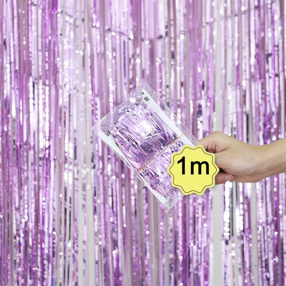 Dreamyth Foil Fringe Curtain, 1 Pack Black Tinsel Foil Fringe Photo Backdrop for Birthday Party Wedding Decor (Pink, 1mx1m)