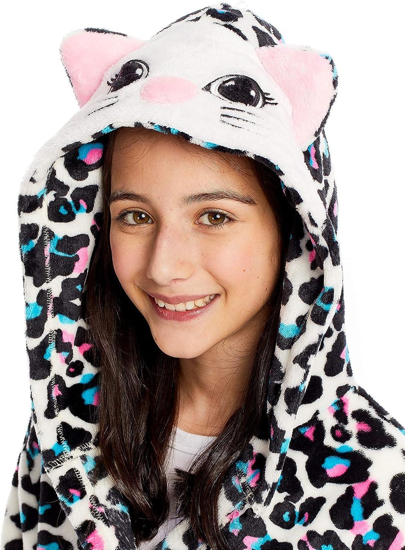 Girls Plush Sleep Robe 3D Face Fleece Bathrobe