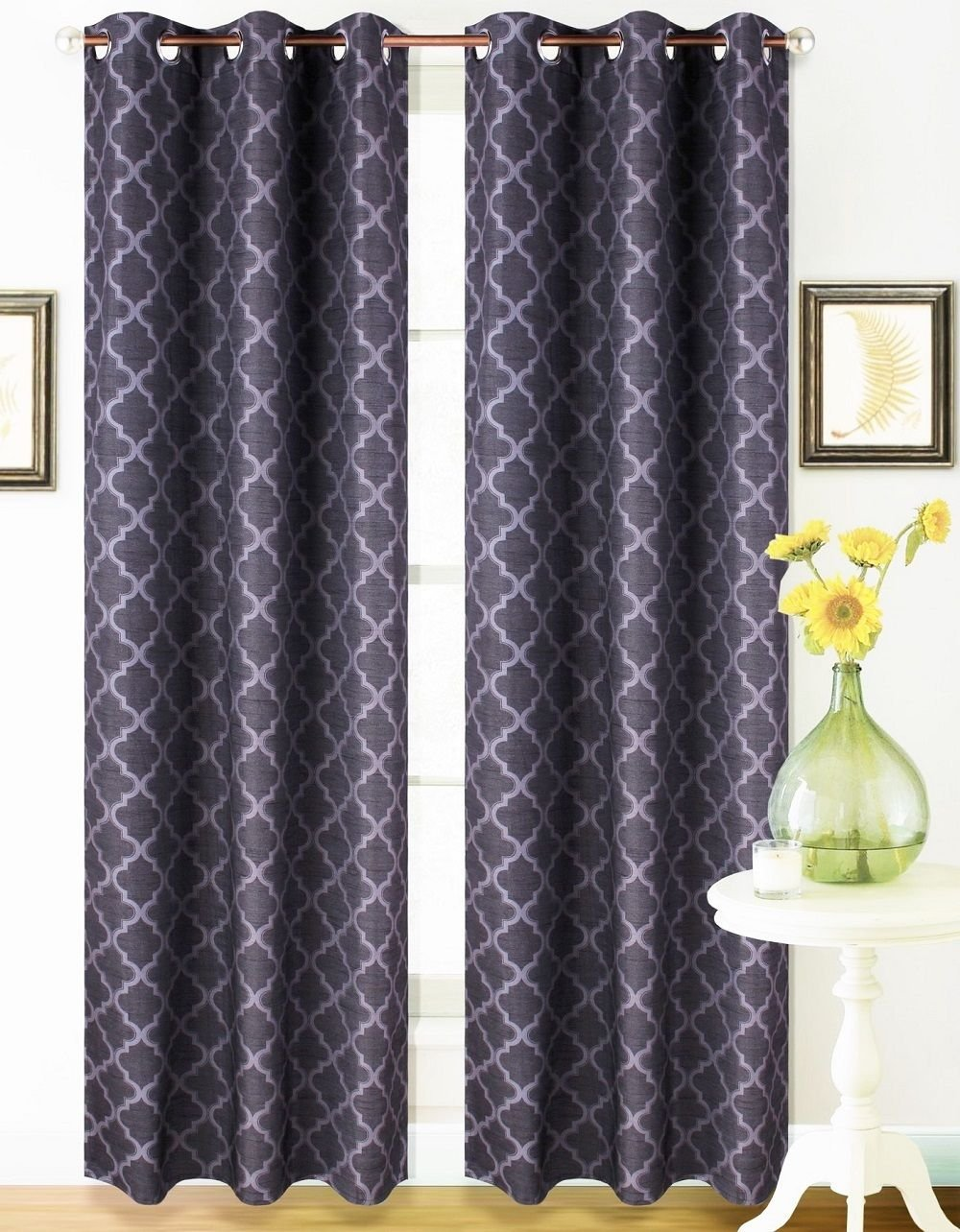 2 Panel Black Grey 95'' Geometric Lined Blackout Grommet Window Drape Curtain