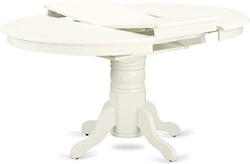 AVNO5-LWH-W 5 Pc Dining set with a Kitchen Table and 4 Wood Seat Kitchen Chairs in Linen White