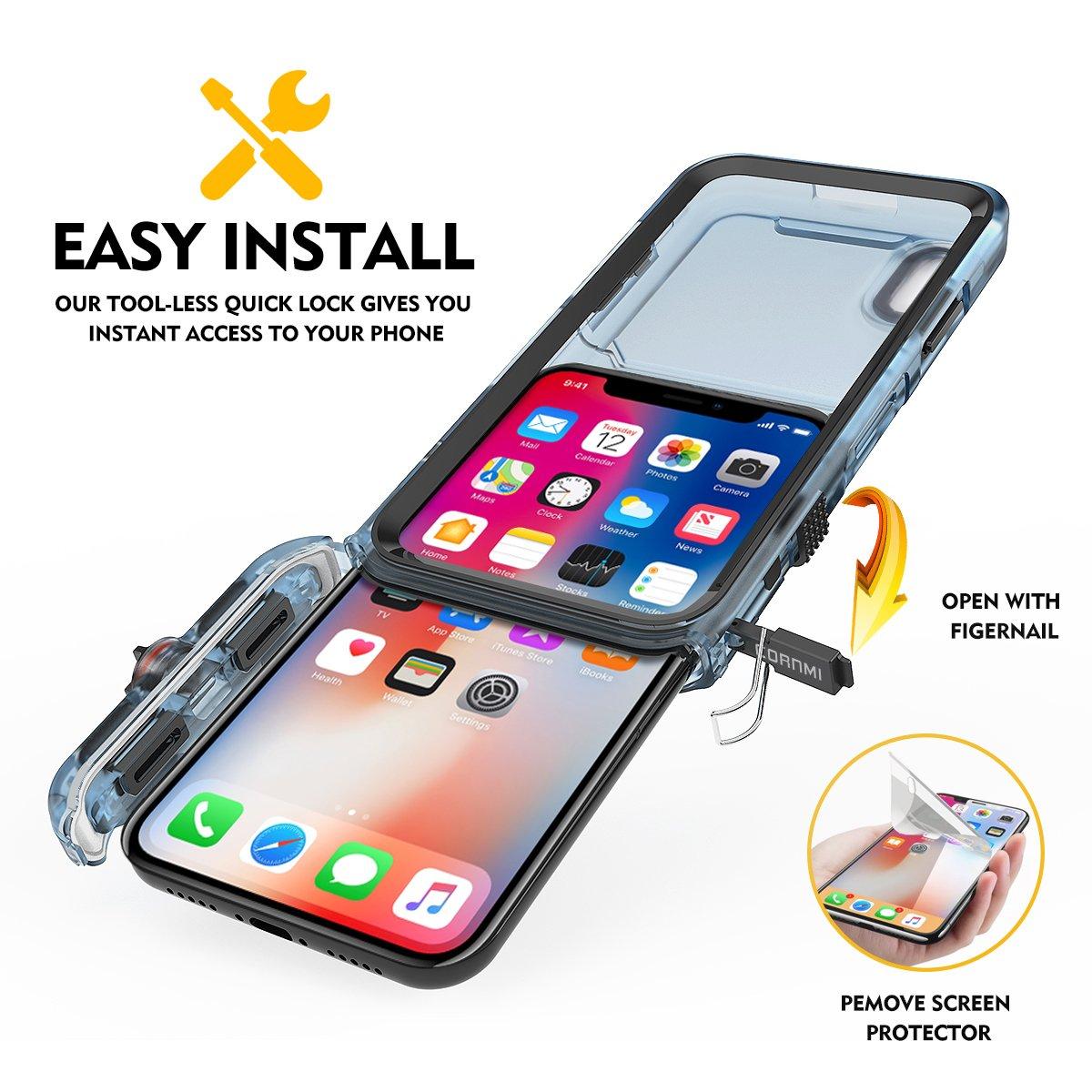 Cornmi iPhone X Waterproof Case, Full Sealed IP68 Certified Waterproof Shockproof Snowproof Protection Underwater Case for iPhone X 5.2inch (Black) by Cornmi (Image #4)