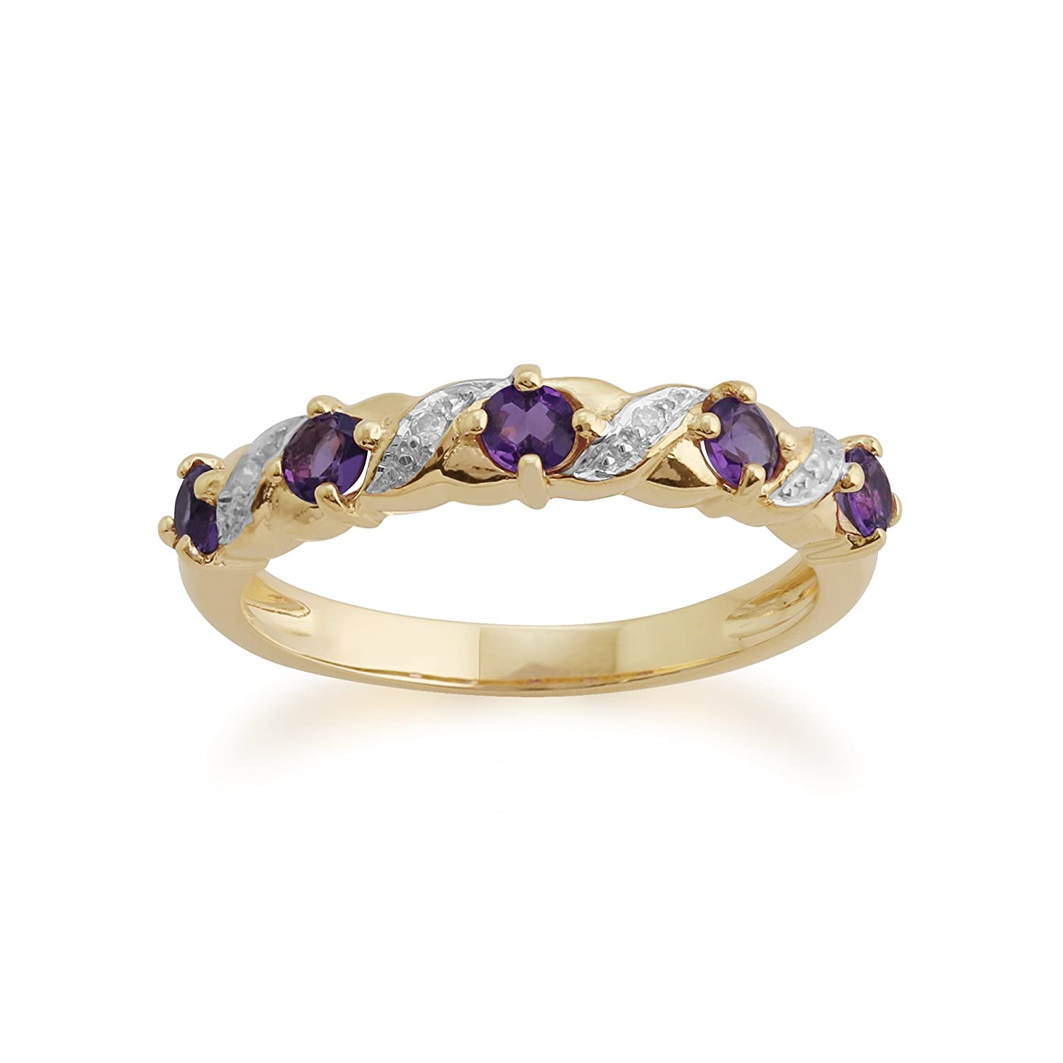 Gemondo Amethyst Ring, 9ct Yellow Gold 0.40ct Amethyst & Diamond Half Eternity Ring