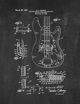 15827632e884b Clarence Tableau noir pour guitare Fender Patent Art 14 x 11 cm ...