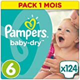 Pampers - Baby Dry - Couches Taille 6 (+15 kg) - Pack 1 mois (x124 couches)