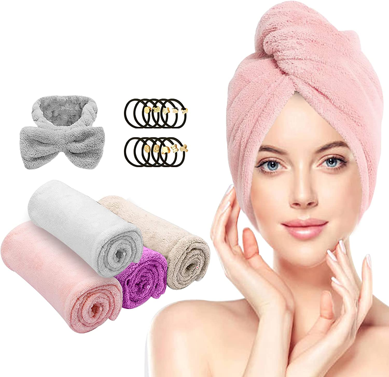 Farsaw Hair Towel Wrap, 4+1 Packs Microfiber Hair Towel Hair Turbans for Wet Hair, Ultra Absorbent Fast Hair Drying Towel for Women, Extra 10 PCS Gifts: Kitchen & Dining