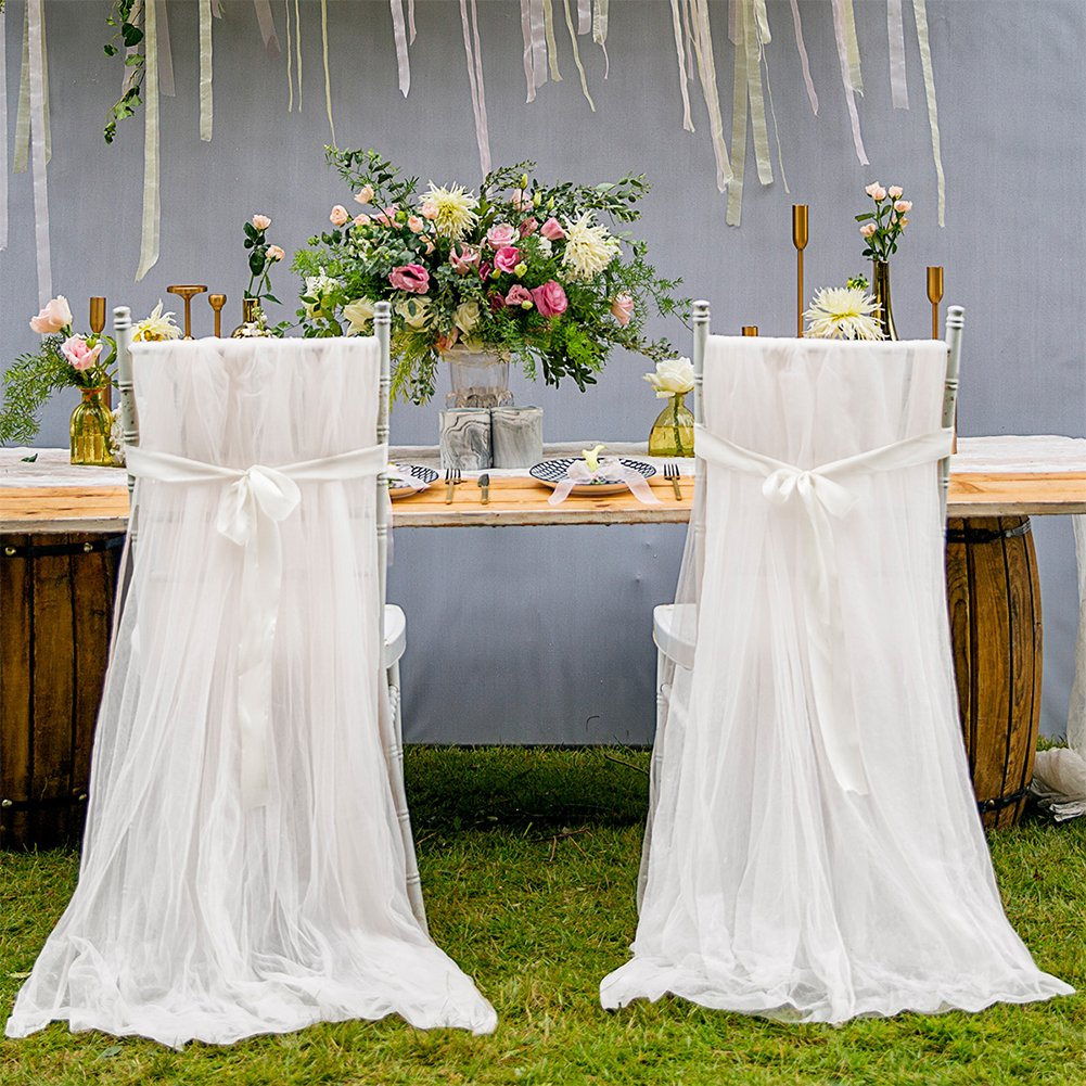 Haperlare 2pcs Long Tulle Chair Skirt High Chair Tutu Skirt High Chair Covers White High Chair Skirt for Home Party,Wedding Birthday Party High Chair Decorations
