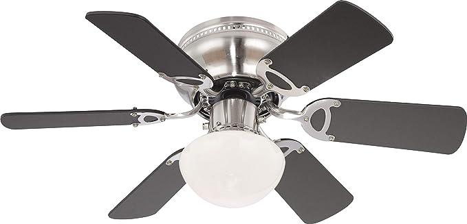Ventilador de techo con hélices de níquel cepillado Globo, con ...